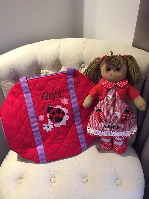 Personalised Ladybird Rag Doll & Personalised Duffle Bag Gift Set