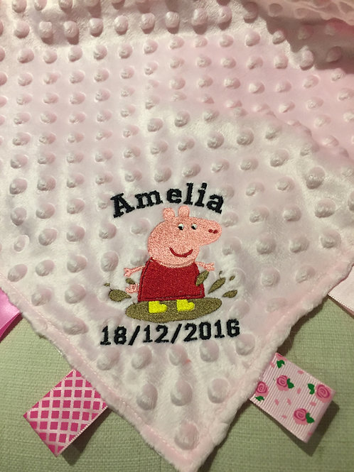 Personalised Peppa Pig Taggie Taggy Ribbon Comforter Blanket