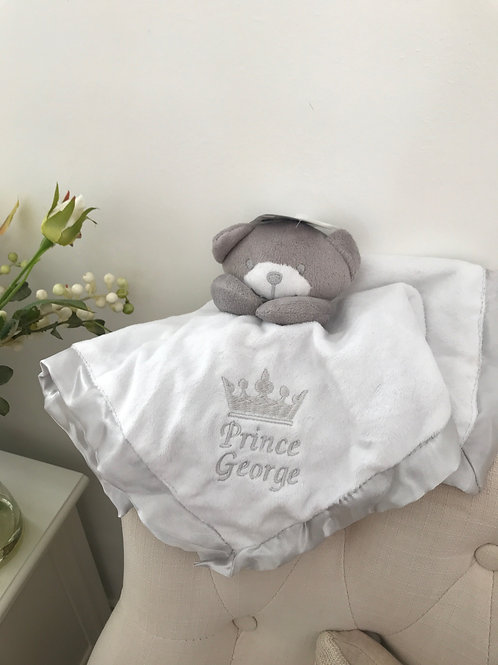 Personalised Little Prince Little Princess Baby comforter Crown Design