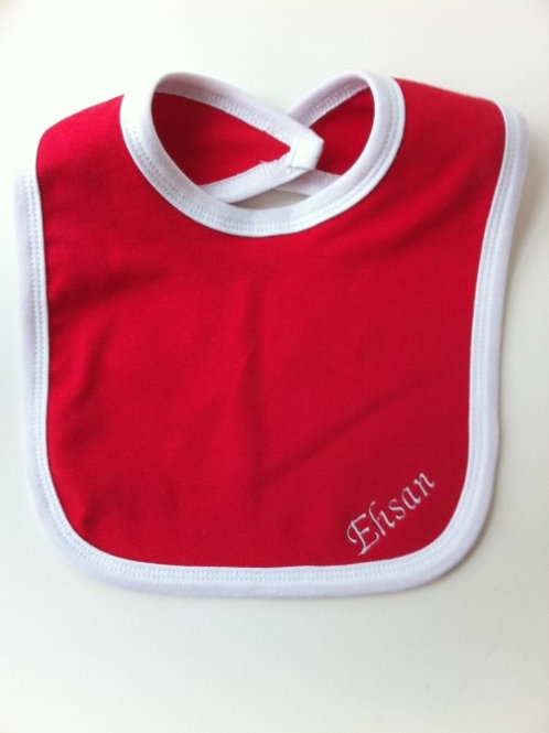 Red Bib with White Border