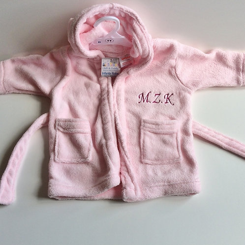 Girls Pink Bath Robe/Dressing Gown- Name & Inital