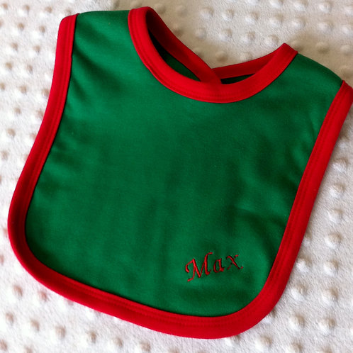 Green Bib with Red Boarder