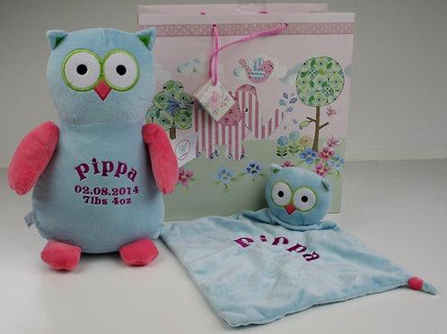 Owl Soft Toy & Comforter Gift Set inc Gift Bag