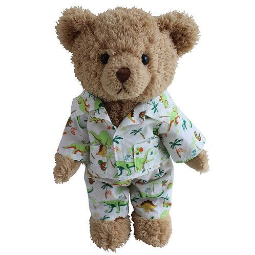 Personalised Powell Craft Teddy Bear In Dinosaur PJ's Pyjamas Bedtime Bear