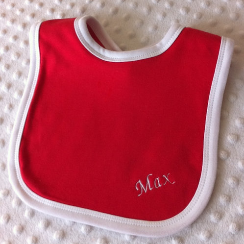 Red Bib with white boarder