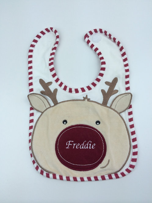Personalised Ruldoph the Reindeer Christmas Bib
