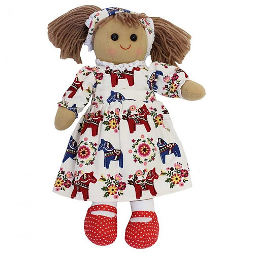 Personalised Powell Craft Rag Doll In Nordic Horse Design Print Dress