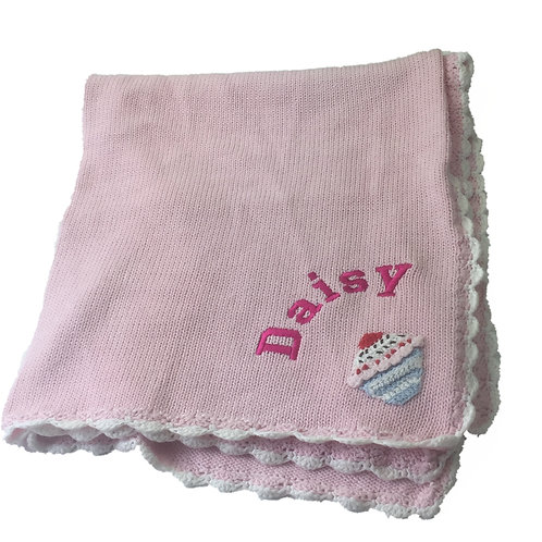 Personalised KNITTED 'Cupcake' themed Blanket