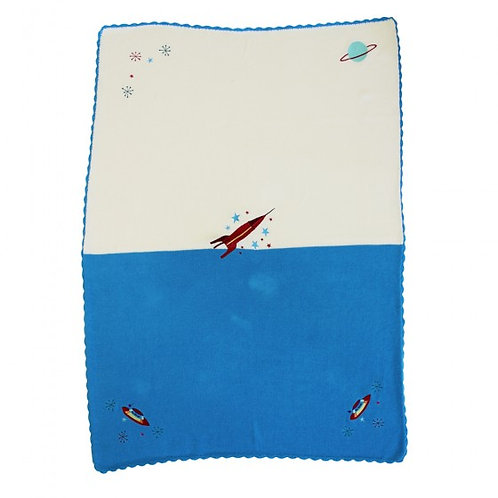 Personalised I Love You To The Moon & Back Space Rocket Baby Blanket