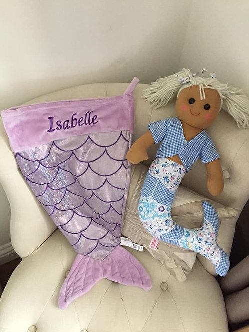 Personalised Mermaid Christmas Stocking And Mermaid Rag Doll
