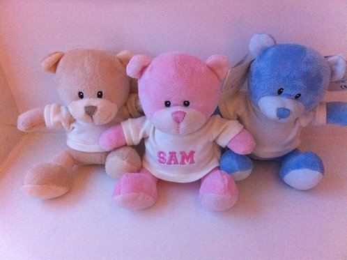 Personalised Teddy's in Cream, Pink & Blue