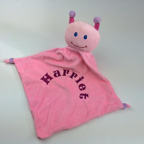 Personalised Pink Ladybird Baby Comforter.