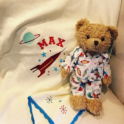 Personalised Powell Craft Space Blanket And Space Teddy Bear In PJs Gift Set