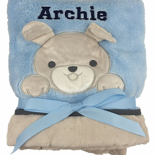 Personalised Puppy on Blue Blanket