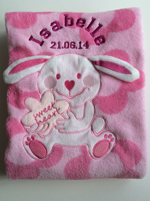Pink Sweet Heart Bunny Baby Blanket