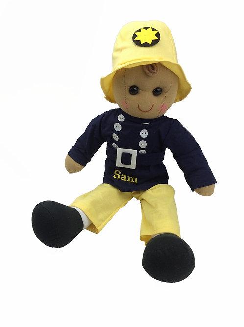 Beautiful Personalised Rag Doll - Fireman
