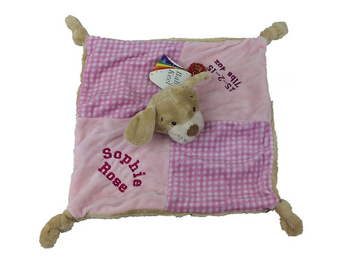 Personalised Pink Puppy Comforter
