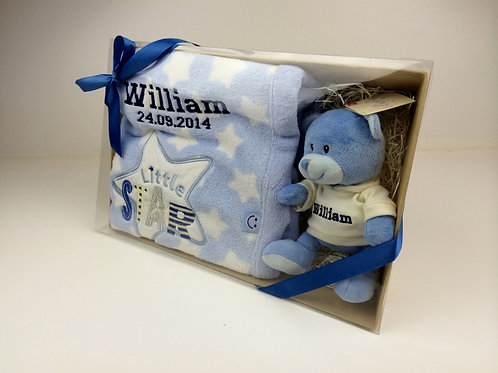 Blue Teddy & Blanket in Presentation Box