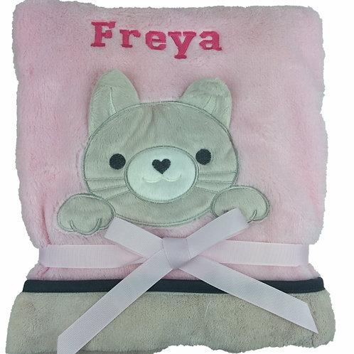 Personalised Kitten on Pink Blanket