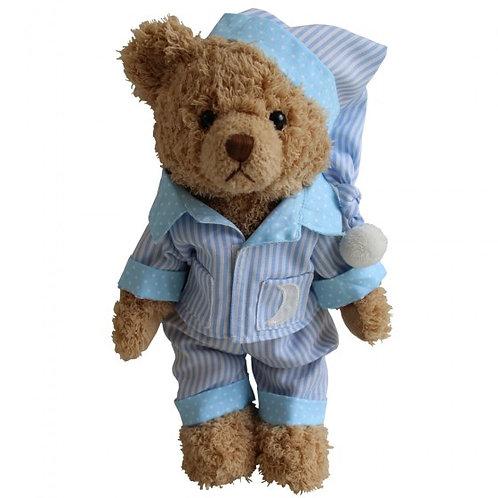 Personalised Teddy In Blue Striped Pyjamas And Nighcap PJs