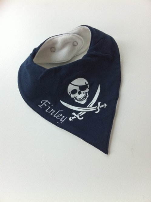 Navy Pirate Dribble Bib