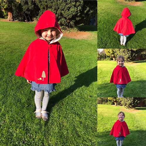 Personalised Powell Craft Little Red Riding Hood Cape Age 1-3 Years.