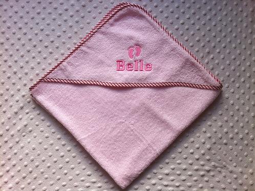 Pink Baby Feet Personalised Hooded Towel -