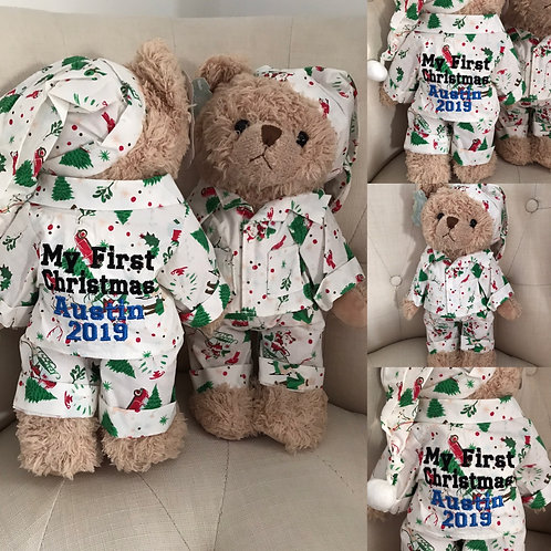 Personalised Powell Craft Christmas Teddy bear In PJ's Pyjamas And Nightcap