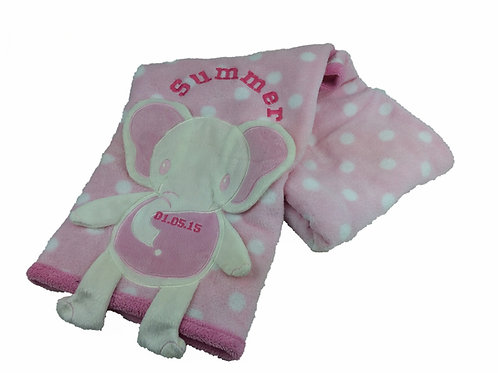 Personalised Pink 'Full Body'Elephant Baby Blanket