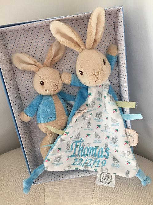 Personalised Peter Rabbit Comforter & Rabbit Soft Toy Gift Set