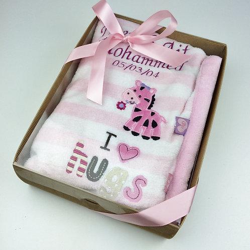 Personalised Luxury Pink 'I Love Hugs' Blanket In Gift Box