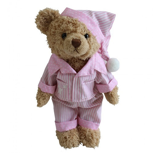Personalised Teddy In Pink Striped Pyjamas And Nighcap