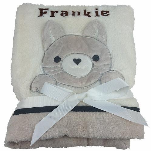 Personalised Cream Kitten Blanket
