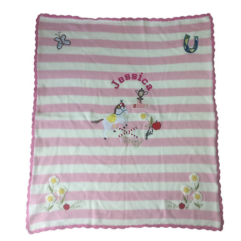 Personalised KNITTED 'Pony' themed Blanket