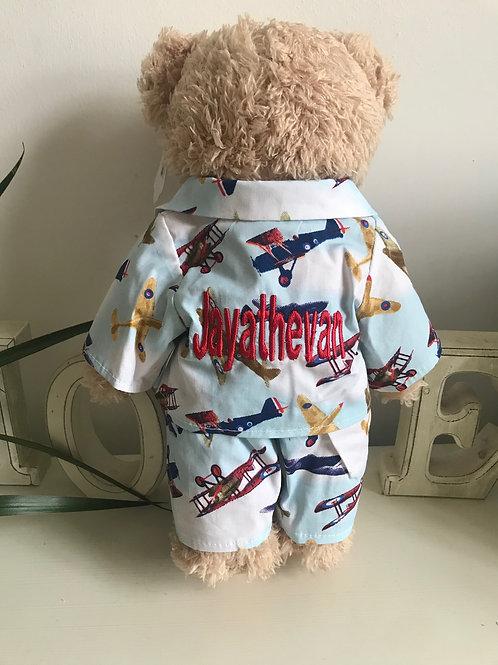 Personalised Powell Craft Teddy Bear In Aeroplane Print Pyjamas PJ's