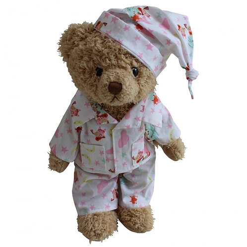 Personalised Powell Craft Teddy Bear In Owl & The Pussy Cat Print Pyjamas PJ's