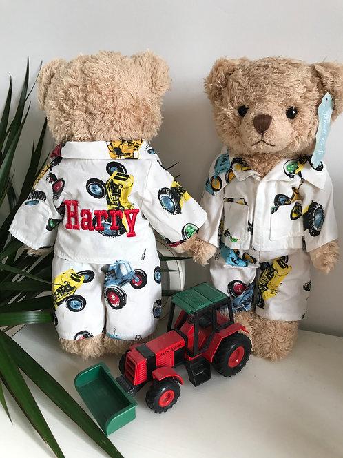 Personalised Powell Craft Teddy Bear In Tractor Print Pyjamas PJ's