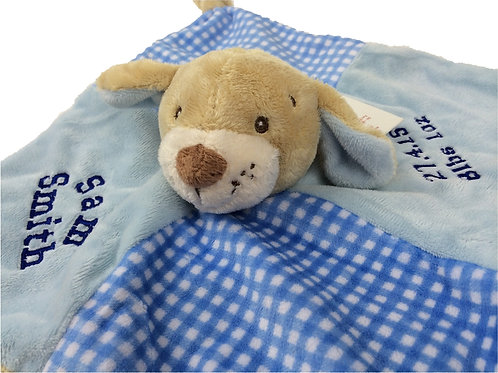 Personalised Blue Puppy Comforter