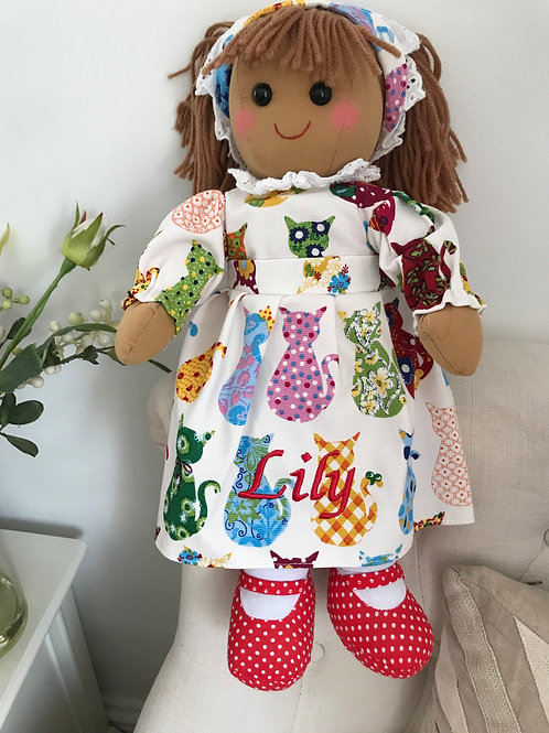 Personalised Powell Craft Rag Doll In Cat Print Design Dress