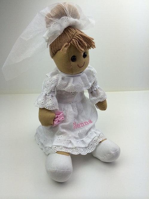 Beautiful Personalised Rag Doll - Bride