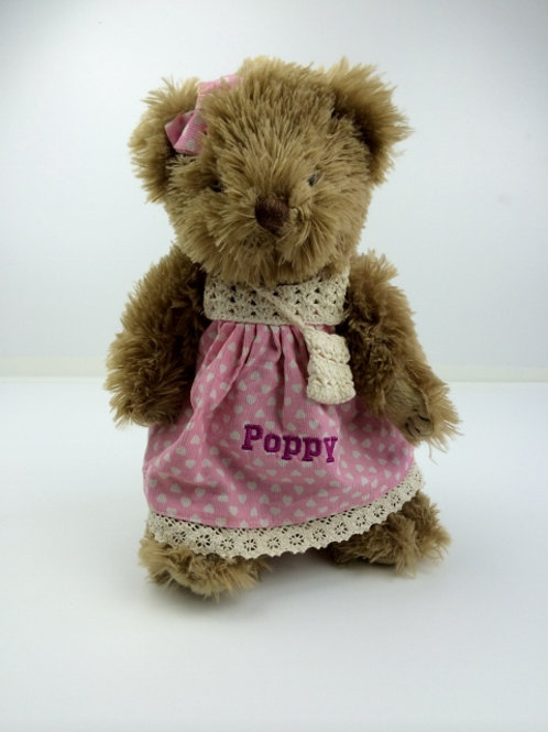 Personalised Teddy Bear in Pink Dress with Crochet