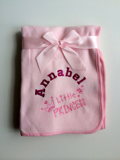 Personalised Little Princess Pink Baby Fleece Blanket