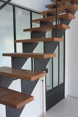 escalier métal et bois serrurier métallier paris