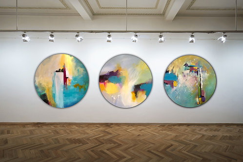 Cornish Porthole Triptych- Special Edition Signed Framed Circle Prints