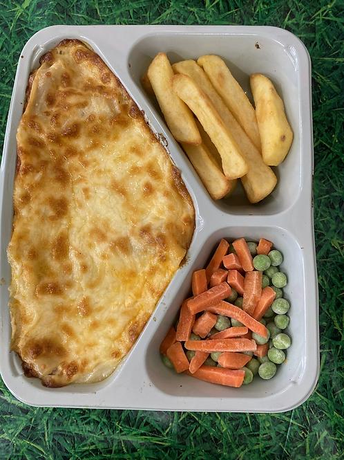 lasagne, chips & veg