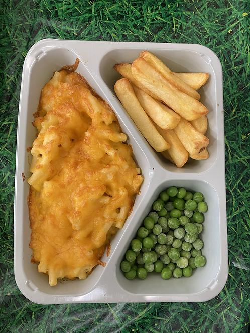 macaroni chips and peas