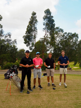 Midsommar celebrations: Assistant Superintendent Adam Fluke (from NSW Golf Club), Oliver Gustavsson, Simon Pettersson & Daniel Vångman at Terrey Hills Golf Club