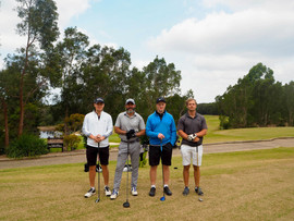 Midsommar celebrations: Martin Lindgren, Club Member Andy Levy, Jesper Illikainen & Carl Billberg at Terrey Hills Golf Club