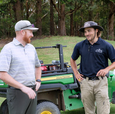 Superintendent Gareth Hammond and Oliver Gustavsson (Sweden) at Terrey Hills Golf Club
