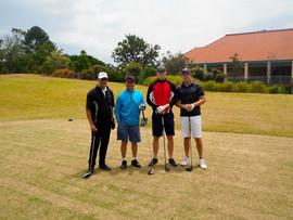 Midsommar celebrations: Mark Matehaere, David Chen from Twin Creeks Golf Club, John Falk & Max Collén at Terrey Hills Golf Club
